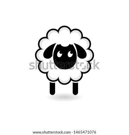 Sheep icon. Black silhouette of sheep on a light background. Logo design for the company. Cartoon of sheep icon for web design isolated on white background.