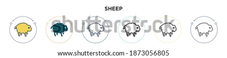 sheep icon in filled  thin line