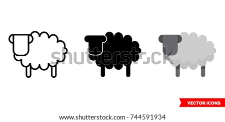 sheep icon of 3 types  color