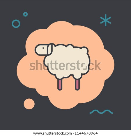 Sheep in a thought bubble. Distraction or sleep concept. Unique and creative illustration. Flat design thin line style. Usage for e-mail newsletters, web banners, headers, blog posts, print and more.