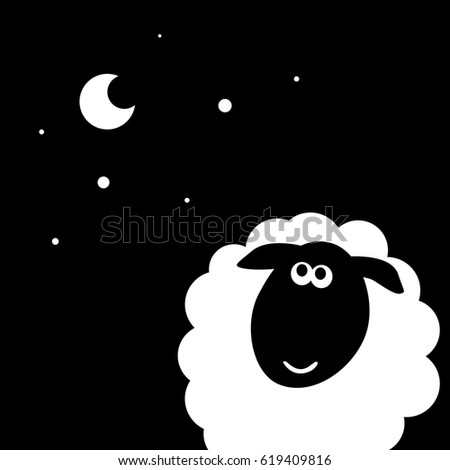 sheep moon vector cartoon