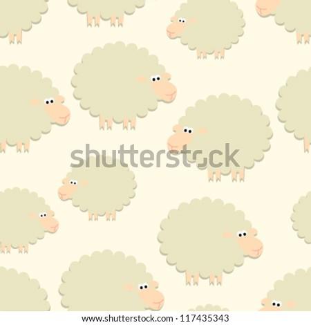 sheep on light yellow seamless pattern