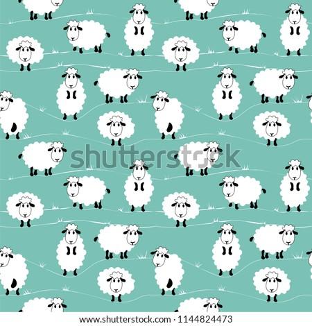 sheep pattern, vector illustration of cute sheeps, cartoon style.