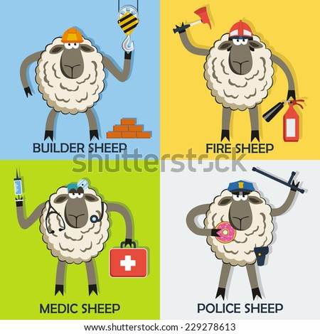 Sheep professional character vector set with doctor, fireman, police sergeant and construction worker