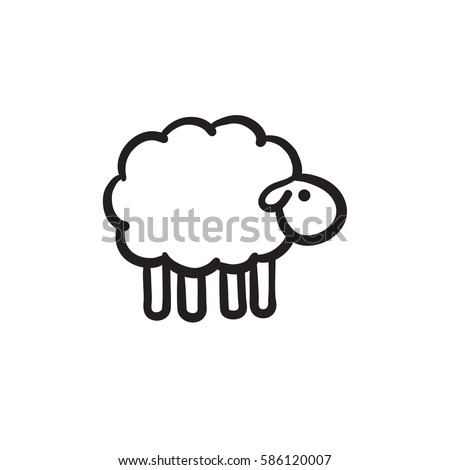 Sheep sketch icon for web, mobile and infographics. Hand drawn sheep icon. Sheep vector icon. Sheep icon isolated on white background.