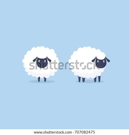 Sheep. Vector illustration. Funny cute sheep characters. Cartoon sheep.