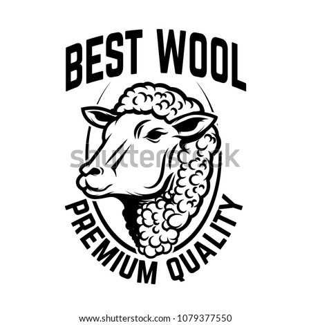 Sheep wool factory emblem template. Sheep head. Design element for logo, label,sign. Vector image
