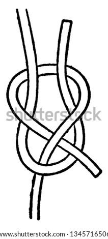 Sheet Bend is a bend that is a knot that joins two ropes together, vintage line drawing or engraving illustration.