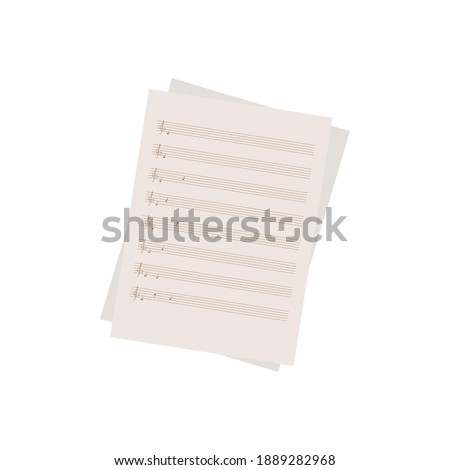 Sheet music page. Handwritten musical notes and treble clef. Study of the subject of solfeggio. For the design of web pages or online store of musical instruments. Vector illustration. Flat style. Stockfoto ©