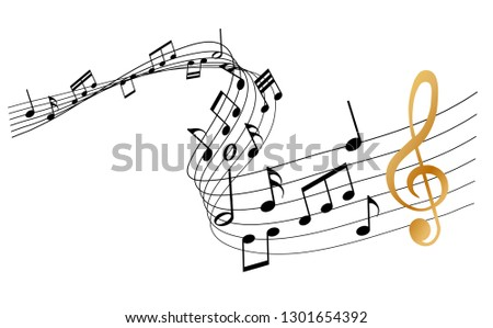 sheet music with golden clef