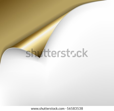 Sheet of golden paper with a curl
