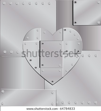 sheet of metal and iron heart