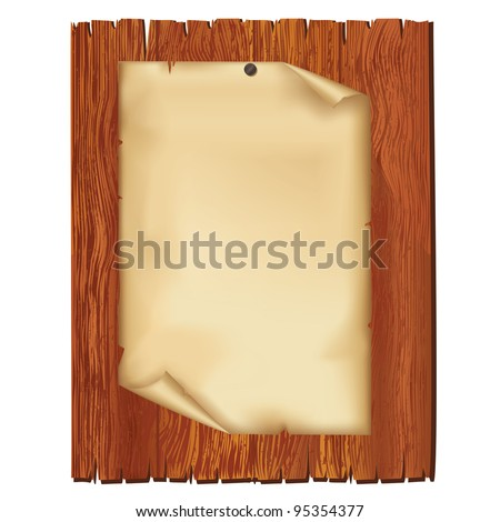 Sheet of old paper on wooden board, isolated on white background