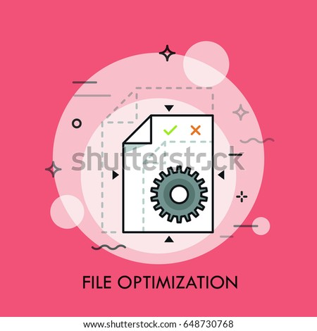 Sheet of paper and gear wheel. File optimization, lossless compression, size reduction, format conversion concept. Vector illustration for brochure, presentation, poster, print, website banner.