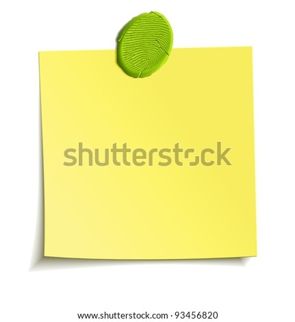 Sheet of paper attached by sticky plasticine like a reminder note. Isolated vector design element