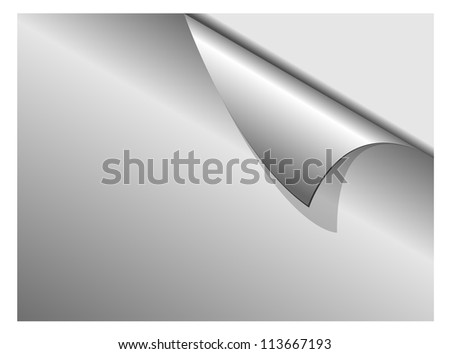 Sheet of silver paper with a curl vector