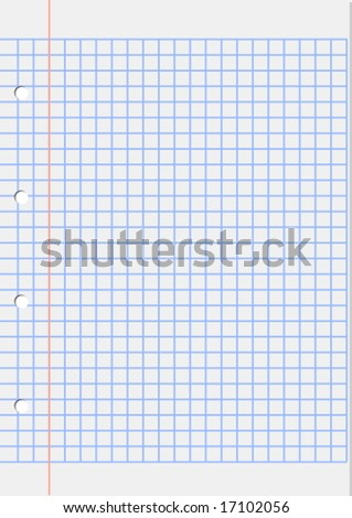 sheet of squared with red margin