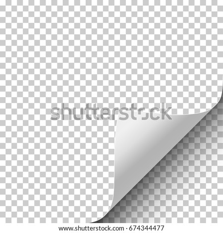 Sheet of transparent paper with curled corner and soft shadow. Element with space for text, ad and other aims. Template paper design. Vector illustration