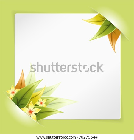 Sheet of White Paper for your Text or Photos, Mounted in Pockets with Leaves and Flower
