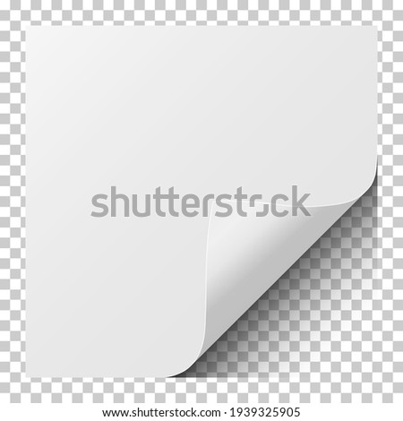 Sheet of white paper with curled corner and soft shadow. Element for ad. Vector illustration. Foto stock ©