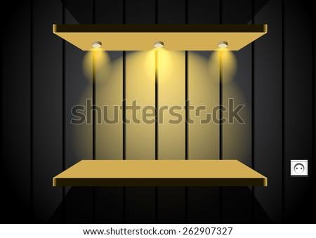 shelf in dark room