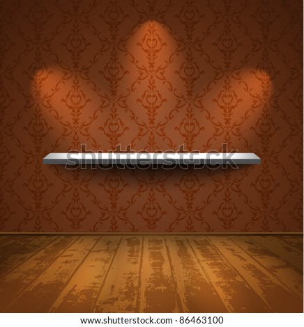 Shelf on a wall with wallpaper in room with wooden floor