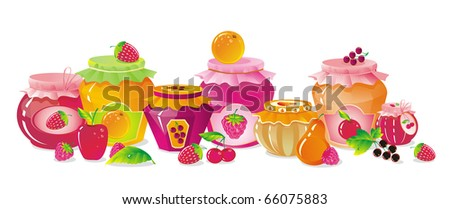 shelf with berries, fruit and jars of jam