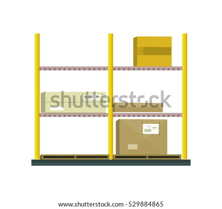 Shelf with cartoon box. Box and cartoon, shelving and carton paper box, racks with boxes, cartoon frame, warehouse storage with cardboard container, cargo cartoon box illustration in flat