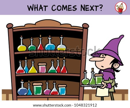 Shelf with potions in the medieval alchemical lab. What comes next? Educational game for children. Cartoon vector illustration