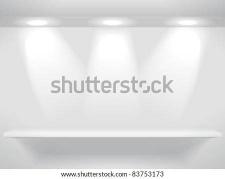 Shelf with three light sources on the wall