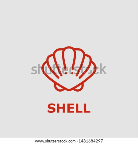 Shell symbol. Outline shell icon. Shell vector illustration for graphic art.