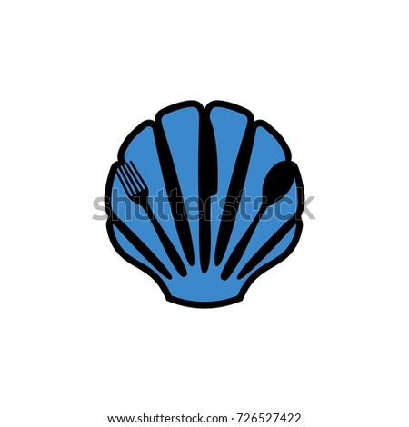 shell with cutlery logo for sea