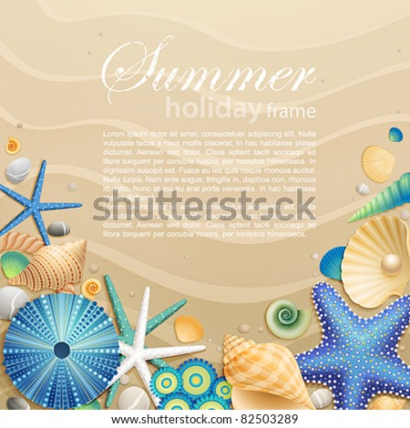 Shells and starfishes on sand background. Vector illustration.