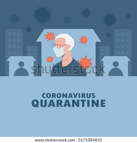 shelter in place. pandemic of coronavirus and social distancing. staying at home with self quarantine to stop outbreak and protect virus spread. older wearing medical mask and self isolation in home.