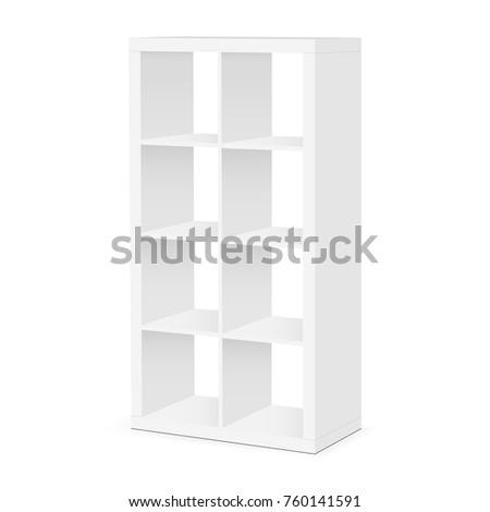 Shelves and shelving mockup isolated on white background. Floor showcase rack - half side view. Vector illustration