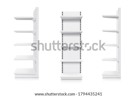 Shelves, supermarket and store showcase, shop product display, vector realistic 3D mockup. Supermarket shelf rack, white retail stand, warehouse shelving, slatwall or slotwall with adjustable shelves