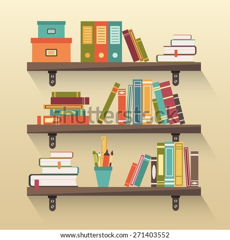 Shelves With Colorful Books In Flat Design Style Stock