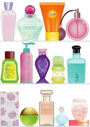 Shelves with cosmetics bottles and containers for beauty care. Isolated over white background. Each objects are grouped.