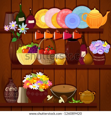 Shelves with dishes and food