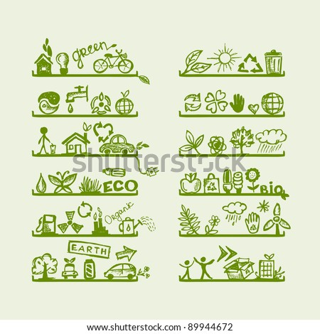 Shelves with ecology icons for your design - stock vector