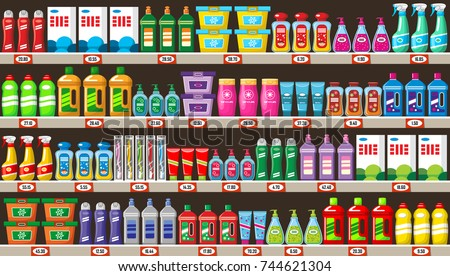 Shelves with household chemicals in shop. Vector illustration