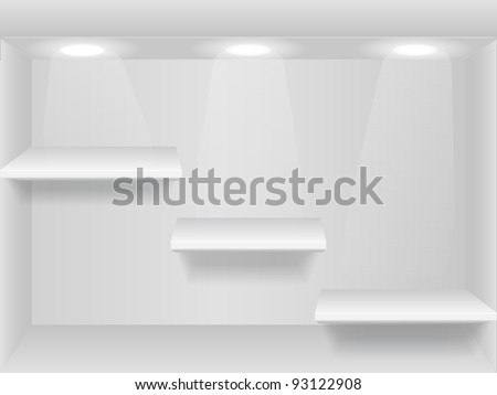 Shelves with lights on the wall