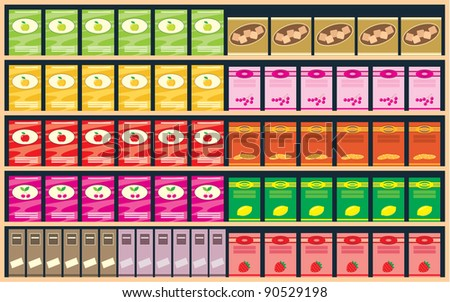 Shelves with products. vector, color full, no gradient