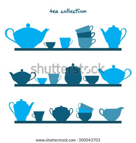 shelves with tea pots and tea