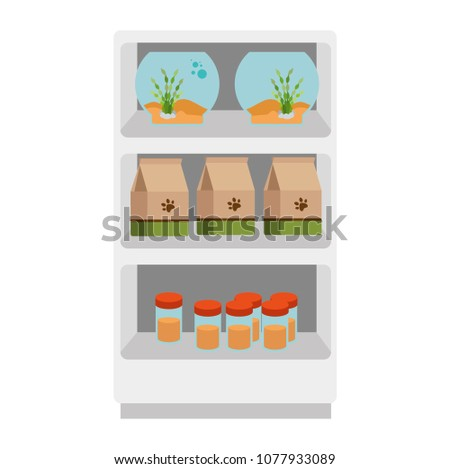 shelving of veterinary store with aquariums and products
