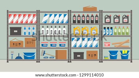Shelving with household goods. Warehouse racks. Storeroom. There are cardboard boxes, buckets, brushes, bottles and other things in the picture. Vector illustration ストックフォト ©
