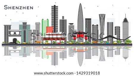 Shenzhen China City Skyline with Color Buildings and Reflections Isolated on White. Vector Illustration. Travel and Tourism Concept with Modern Architecture. Shenzhen Cityscape with Landmarks.