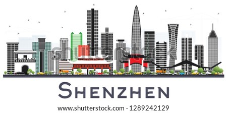 Shenzhen China City Skyline with Color Buildings Isolated on White. Vector Illustration. Business Travel and Tourism Concept with Modern Architecture. Shenzhen Cityscape with Landmarks.