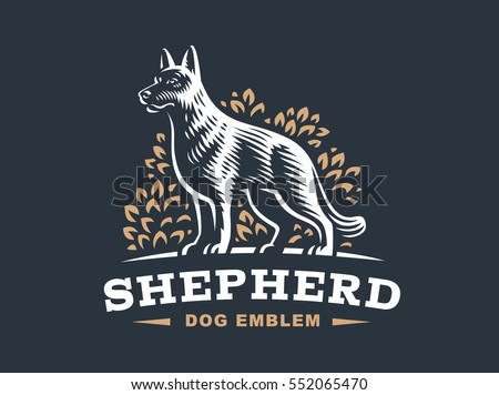 shepherd dog logo   vector