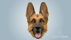 Shepherd in a polygon style. Fashion illustration of the trend in style on gray background. Farm animals. portrait of a dog.